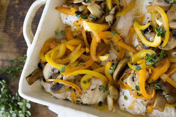 Baked Snapper with Peppers and Mushrooms