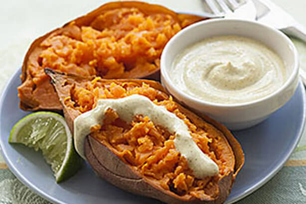 Baked Sweet Potato with Curried Yogurt Dressing