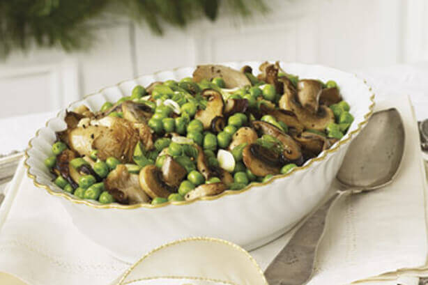 Braised Wild Mushrooms and Peas