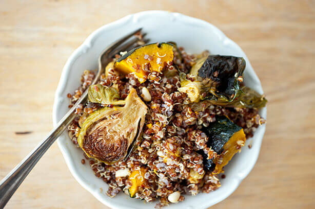 Quinoa with brussels sprouts and pumpkin
