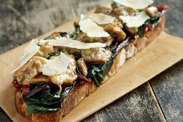 Red Chard and Oyster Mushroom Toast