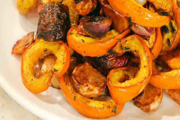 Roasted Fall Vegetable Salad with Pumpkin, Golden Beets, Turnips, and Apples