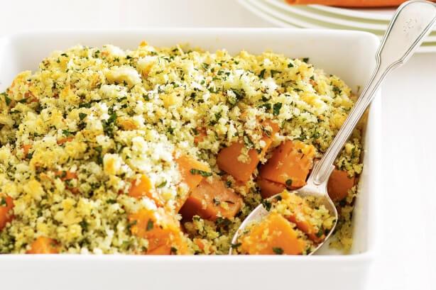Sweet potato and herb crumble